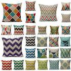 Colorful Geometric Waves Chevron Home Throw Linen Pillow Case Sofa Cushion Cover