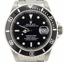 Rolex Submariner Stainless Steel Watch Black Dial & Bezel Date Sub Oyster 16610