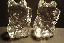 Genuine Handmade Pair of  Spun Glass ~Lucky Cats~Figure~Ornament~Boxed~uk seller