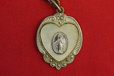 Vintage Sterling Miraculous Medal Marcasite Mother of Pearl medal CATHOLIC Medal