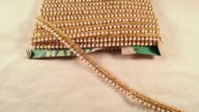 Stylish high quality gold pearls and diamnate lace trim for crafting 1 metre