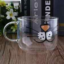 Cat Boronsilicate Glass Coffee Cup Home Transparent Clear Water Mug 550ML