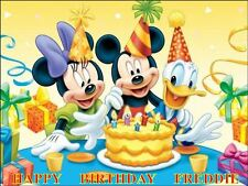 "MICKEY MOUSE  DESIGN 3  PERSONALIZED 10 x 7.5"" ICING CAKE TOPPER"