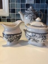 222Fifth Adelaide Grey New Sugar Bowl And Creamer