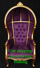 Gold Finish Porter Chair w/ Purple Velour - Balloon, Bonnet, Canopy, Dome Throne