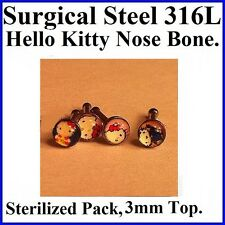 STERILIZED 316L SURGICAL STEEL 20g 3mm  (ONE)  Hello Kitty  NOSE BONE