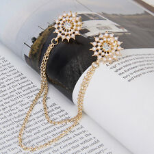 Fashion Beads Flower Golden Alloy Round Collar Neck Tip Brooch Pin Chain Tassels