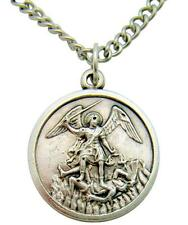 "St Michael Oxidized Italian Metal 3/4"" Medal Gift Boxed & Chain + Gift Bag"
