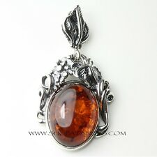 GENUINE BALTIC AMBER 925 STERLING SILVER PENDANT