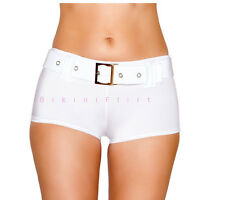 SEXY SKIMPY CHEEKY WHITE BOOTY SHORTS BIKINI BOTTOMS WITH BELT! NEW MADE IN USA