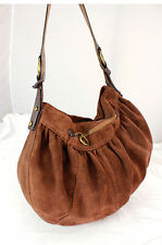 Lucky Brand Dark Brown suede Leather Hobo Shoulder Bag Handbag  Purse