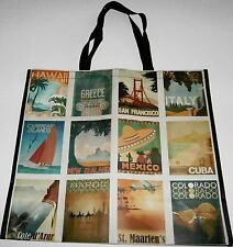 "Reusable Tote Bag PATCHWORK OF VACATION DESTINATIONS 19.5 "" x 18"" x 8"""