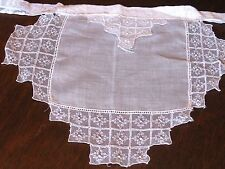 "ANTIQUE/VINTAGE TINY BRIGHT WHITE ""FRENCH MAID"" COTTON LACE KITCHEN HALF APRON"