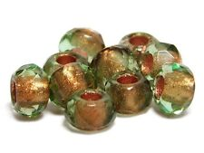 5x8mm Copper Lined Olivine Faceted Large Hole Rondelle Roller Beads (10) #A65