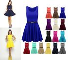 New Ladies Women Belted Sleeveles Celebrity Inspired Skater Dress Plus Size 8-26
