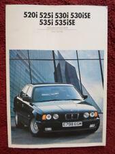 BMW SERIE 5 1988 mercato del Regno Unito Colori & Tappezzeria opuscolo