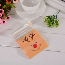 50PCs Christmas Self Adhesive Seal Plastic Bags Pouches Yellow 15x10cm