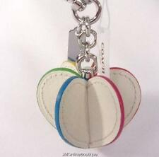 Coach F65427 Colorful Heart Leather Silver tone Key Ring Charm FOB NEW! $70
