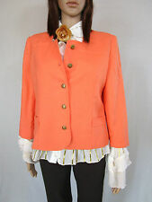 Womens Retro Vtg Peach Casual Tailored Elegant Crop Jacket Blazer sz 10 12 AM50