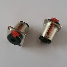 "2 pcs 3 Pole 6.35mm 1/4"" Female Jack Panel Chassis Lock Socket Audio Connector"