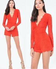 NWT bebe red overlay lace scallop deep v long sleeve top dress romper M Medium 8
