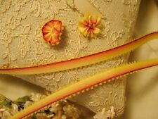 PICOT EDGE OMBRE RIBBON FOR RIBBONWORK MILLINERY FLOWERS YELLOW TO RED