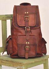 US SELLER 16'' Handmade Genuine Leather Rucksack Backpack School Bag College