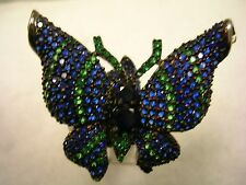 BUTTERFLY RING WITH SAPPHIRE BLUE,EMERALD GREEN CUBIC ZIRCONIA STERLING SILVER