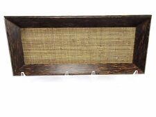 "Vintage ATTICUS Hevea Wood Rectangular Serving Tray 16 1/2"" x 7"" Woven Fabric"