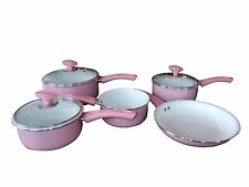 Family Sized Pink 5-Piece Pan Set, Non Stick Ceramic Interior (Full Sized Set).