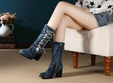 ♪RABATT DENIM♫SHOES♫♪SEXY DENIM BOOTS WESTERN♥WINTER VINTAGE JEANS♥damen stiefel