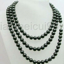 """Charming! 8-9mm Natural Black freshwater Cultured Pearl Necklace 54"""""""