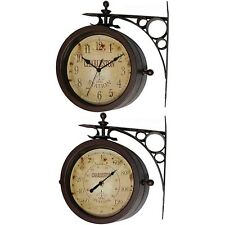 Two-sided Rustic Clock Thermometer Vintage Waterproof Decor Outdoor Decoration