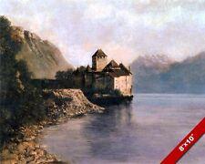 CHATEAU DE CHILLON SWITZERLAND ISLAND CASTLE PAINTING ART REAL CANVAS PRINT