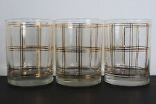 Vintage Georges Briard Set of 3 Window Pane Pattern Drinking Glass 22KT Gold