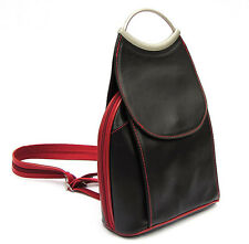Made in Italy 100% leather Citybag Backpack Shoulderbag Rucksack  Black + Red UK