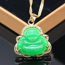 2017 Fashion Green Jade White CZ Lucky Happy Buddha Pendant Free Necklace New