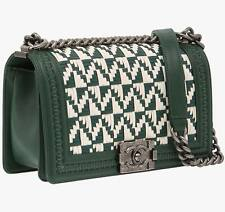Women CHANEL Handbag Braided Green/White Leather RHW Boy Designer Fashion Bag