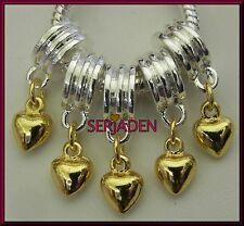 5 Gold Tone Heart Dangle Charms 6 x 23 & 5 mm hole Fits European Jewelry S001