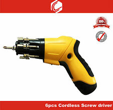 Cordless Lock N Load Screwdriver with 6 Bits,LED Light - Home & Professional use