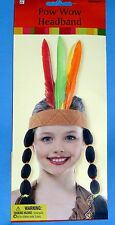 NEW Girl Native American Costume Indian headband-4 real feathers;braids;One Size