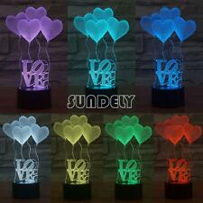 3D Light Love Heart 7 Color Change Acrylic illusion LED Night Lamp Touch Button