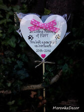 PINK PET MEMORIAL-Dog-Cat Grave Personalised Plaque-'You left a pawprint' heart