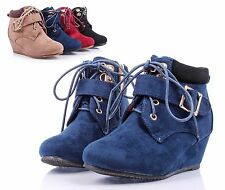 Navy nn Faux Suede Girls Wedge High Heels Kids Ankle Boots Youth Shoes Size 2