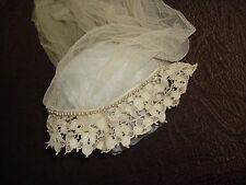 Vintage C1910 Edwardian Handmade Needlelace + Pearls Bridal Headpiece Lace
