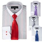 Men's Striped Dress Shirt With Solid Tie & Slim Collar Style SG41