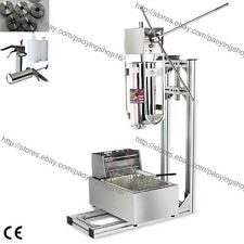 3L Vertical Manual Spanish Donut Churro Machine Maker w/ 6L Fryer 700ml Filler