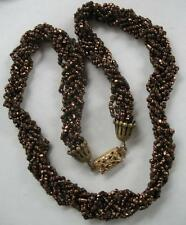 ANTIQUE VICTORIAN GOLD FILLED CRYSTAL GLASS BEADS HAND CRAFTED NECKLACE 1800S