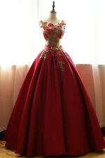 2017 Burgundy Wedding Dress Bridal Gown Quinceanera Pageant Formal Prom Dresses