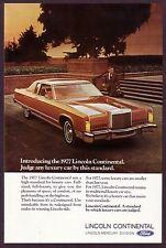 1977 Original Vintage Lincoln Continental Car Photo Print Ad